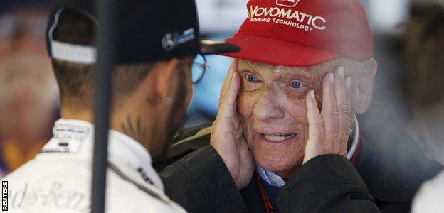 Niki Lauda of Mercedes