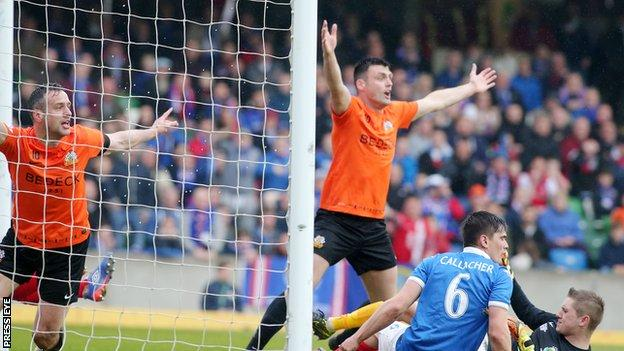 Eoin Bradley protests after having a first half 'goal' disallowed