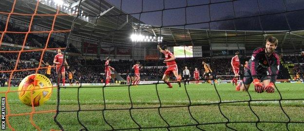 Dimi Konstantopoulos looks on as Hull score against Middlesbrough