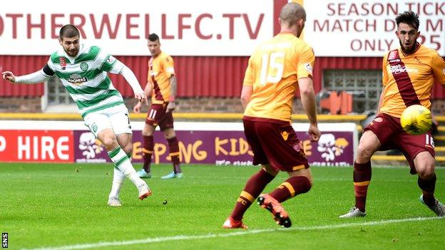 Nadir Ciftci scores for Celtic against Motherwell