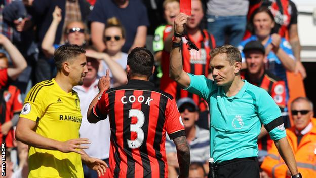 Middlesbrough's Gaston Ramirez (left) is shown a red card during his team's 4-0 defeat at Bournemouth