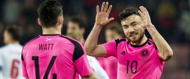 Robert Snodgrass (right) high-fives Scotland debutant Tony Watt