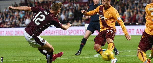 Billy King scores Hearts' second goal against Motherwell