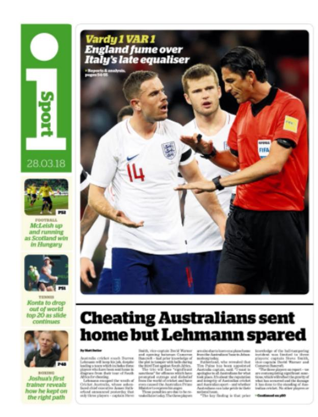 Wednesday's The i back page