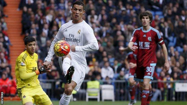 Real Madrid's Cristiano Ronaldo in action against Real Sociedad