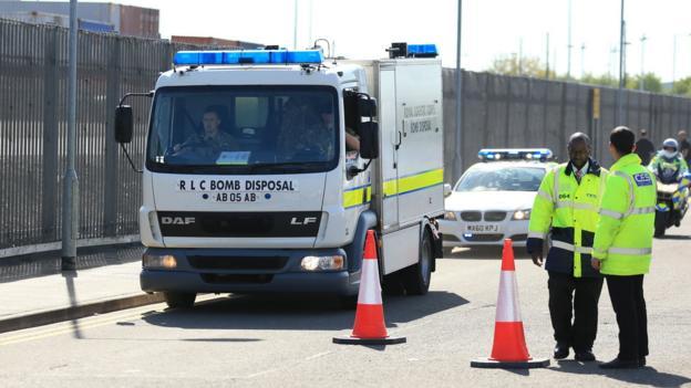 A bomb disposal unit arrives at Old Trafford