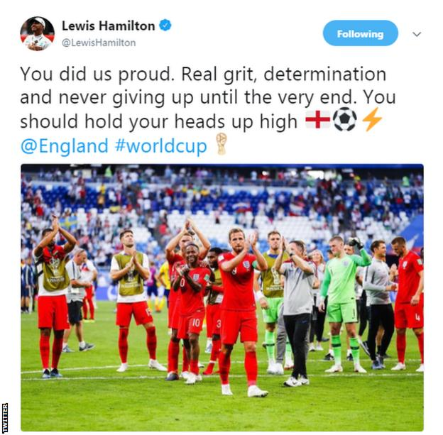Lewis Hamilton tweets his support to the England football team after their World Cup semi-final defeat to Coatia