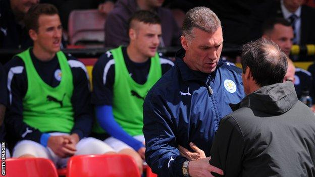 Kane and Vardy on Leicester bench