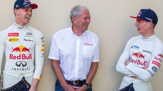 Daniil Kvyat, Helmut Marko, Max Verstappen