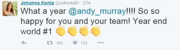 Johanna Konta tweet