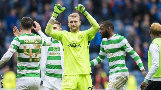 Scott Bain celebrates Celtic's 3-2 win at Ibrox