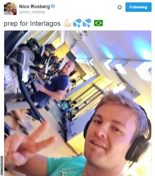 World Championship leader Nico Rosberg has been working up a sweat in the gym