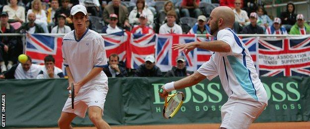 Delgado (right) and Murray played together in the Davis Cup