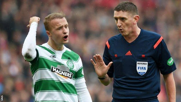 Leigh Griffiths shares his feelings with referee Craig Thomson