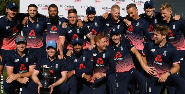 England celebrate with the trophy