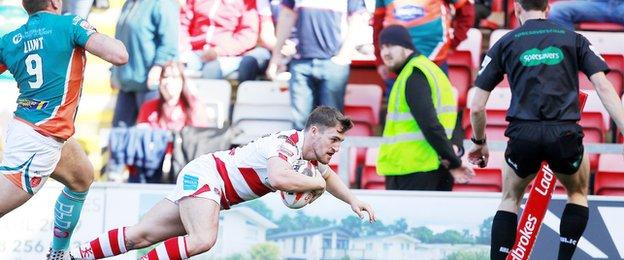 Curtis Naughton dived over for Leigh's second try against Hull KR