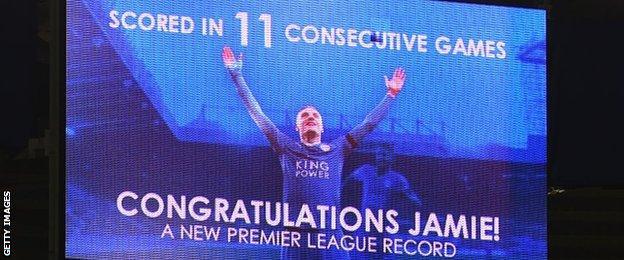 Leicester mark Jamie Vardy's 11-game scoring run
