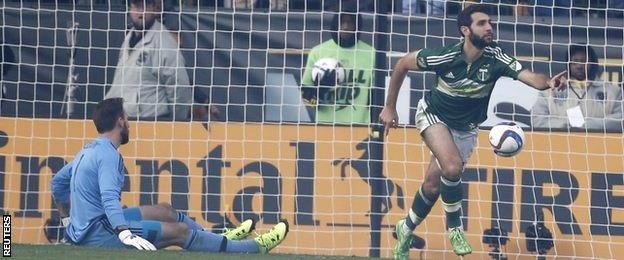 Diego Valeri celebrates scoring the opening goal for Portland Timbers in the MLS Cup final