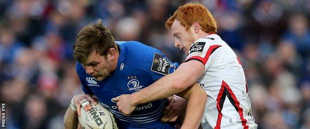 Jordi Murphy battles with Ulster's Peter Nelson in a 2015 Pro12 Irish derby