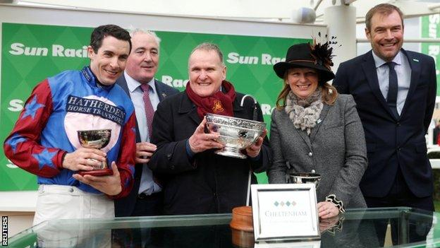 Paisley Park's jockey Aidan Coleman, owner Andrew Gemmell and owner Emma Lavelle
