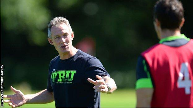 Rob Howley during a Wales training session