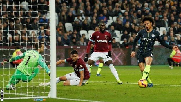 Leroy Sane scores for Manchester City against West Ham
