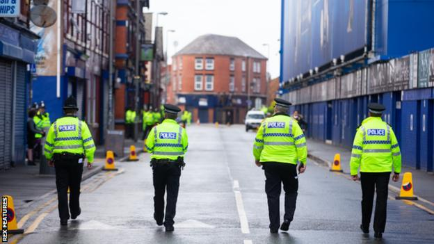 There was a police presence at Goodison Park before, during and after the game