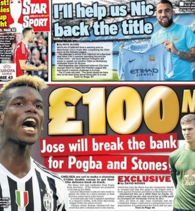 The Daily Star's back page claims Jose Mourinho is set to launch a double swoop for Pogba and Stones