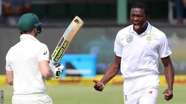 Australia captain Steve Smith is approached by South Africa bowler Kagiso Rabada after his dismissal