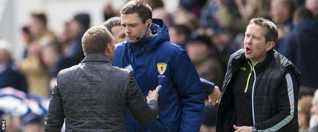 Brendan Rodgers confronts fouth official Kevin Clancy in Dingwall