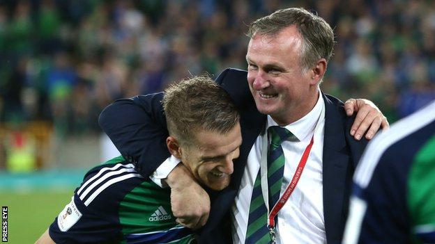 Northern Ireland manager Michael O'Neill with captain Steven Davis