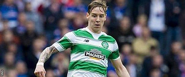 Stefan Johansen in action for Celtic against Rangers in their Scottish Cup semi-final