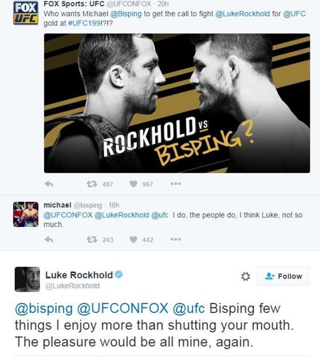 Bisping and Rockhold tweets