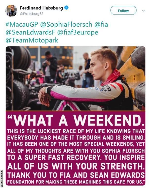 Fellow F3 driver Ferdinand Habsburg's tweet wishing Sophia Florsch well after her crash