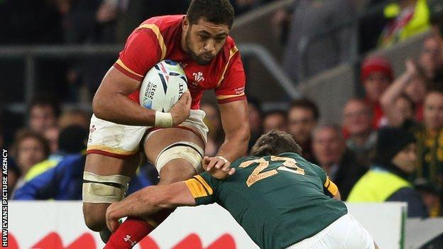 Taulupe Faletau in action for Wales against South Africa
