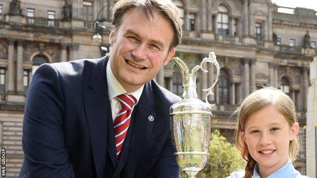 Johnnie Cole-Hamilton brought the Claret Jug on a promotional visit to Glasgow
