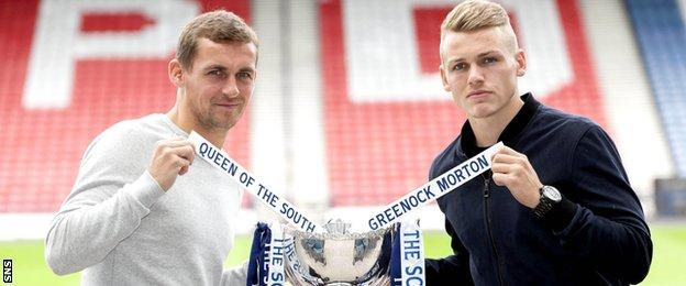 Queen of the South player/manager James Fowler and Morton's Joe McKee at Hampden Park