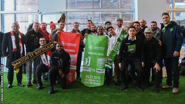 Forge FC will host York 9 FC, managed by Jim Brennan (far right) in the first ever Canadian Premier League game