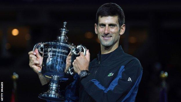 Novak Djokovic with the US Open trophy