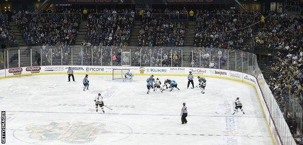General view of Elite League ice hockey game