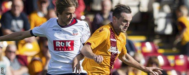 James McFadden (right) in action for Motherwell against Bolton Wanderers