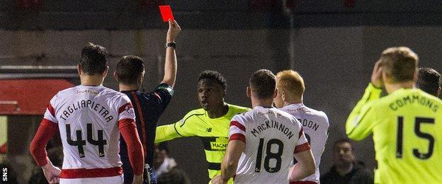 Celtic defender Dedryck Boyata is sent off by referee Craig Thomson