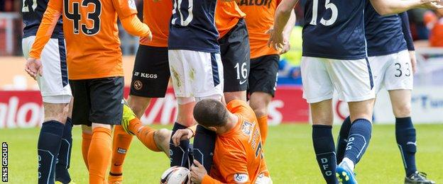 Nadir Ciftci (grounded) was found guilty of biting Jim McAlister in the Dundee derby