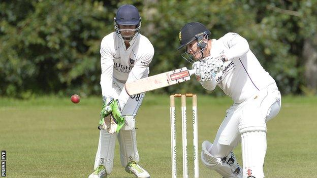 Action from the Ulster Bank Premier League game between Instonians and CIYMS