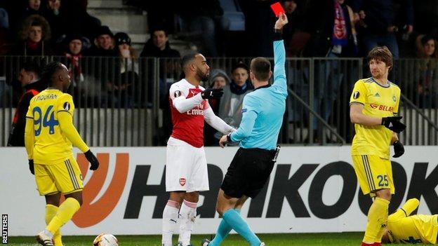 Alexandre Lacazette is sent off against Bate Borisov