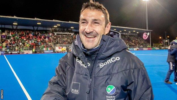 Ireland women's hockey coach Sean Dancer shows his delight after his side's Olympic qualification last November