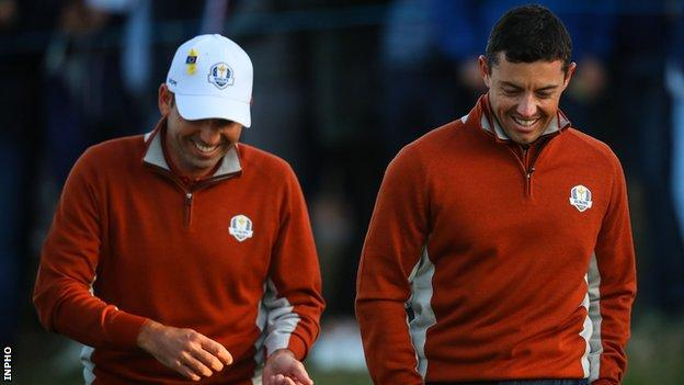 Rory McIlroy with Sergio Garcia at last year's Ryder Cup in Paris