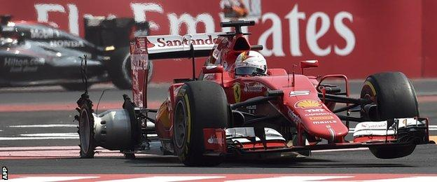 Sebastian Vettel switched to mediums on lap one following a puncture in a collision with Daniel Ricciardo's Red Bull