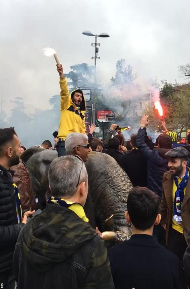 Fenerbahce fans congregate before Sunday's game