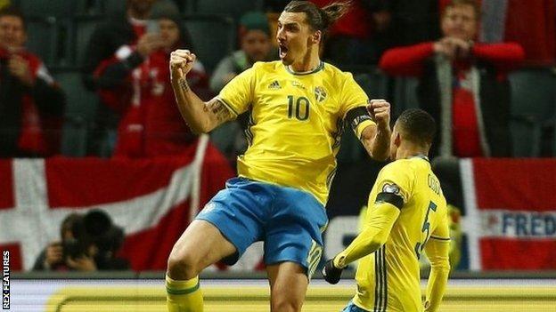 Zlatan Ibrahimovic celebrates scoring for Sweden